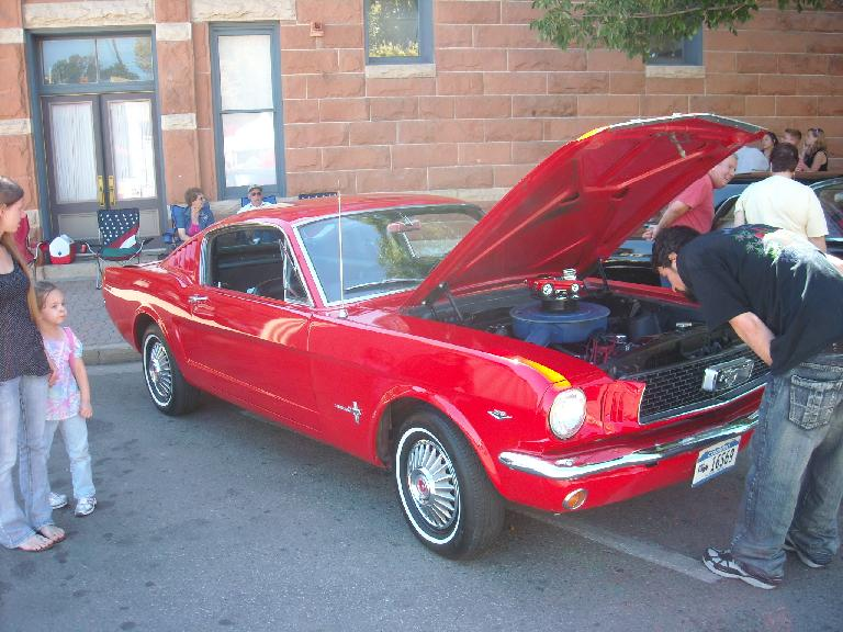 A fastback Mustang from the mid-60s that the new Mustangs are reminiscent of.  I didn't realize the original fastback Mustangs only sat two people (at least this one did).