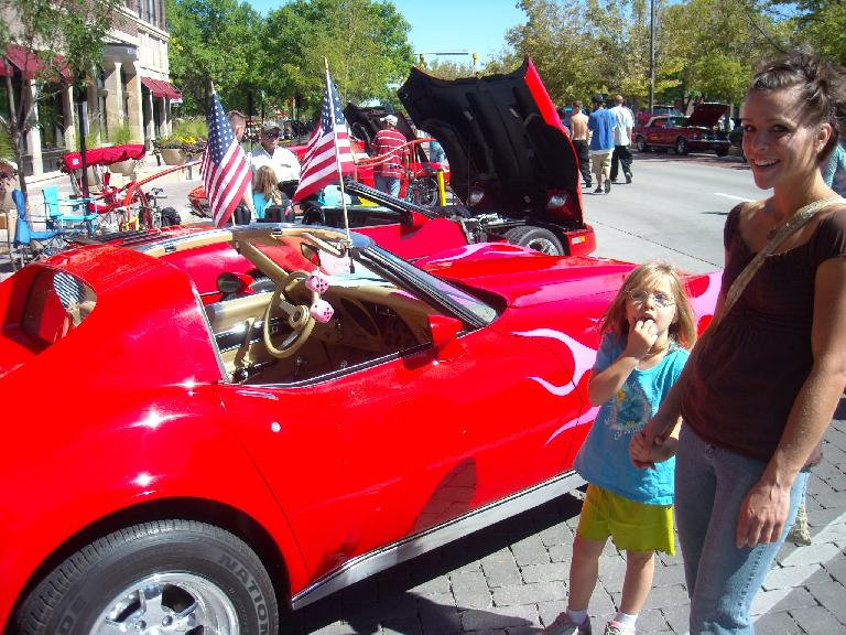 Faith liked the pink flames on this 'Vette while Leah liked the pink fuzzy dice.