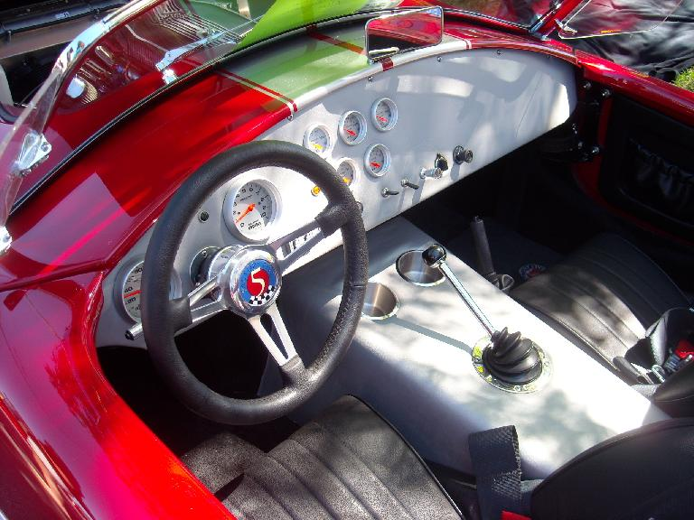 The interior of a Factory Five Cobra replica.