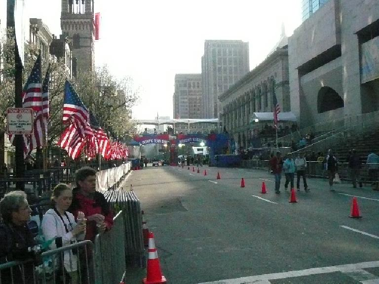 The finish line of the Olympic Marathon Trials (and also that of the Boston Marathon the next day).