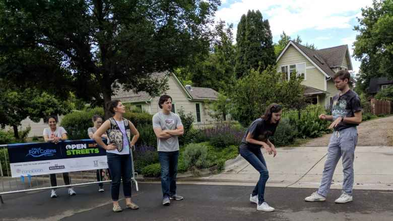 Four folks doing improv at Open Streets.