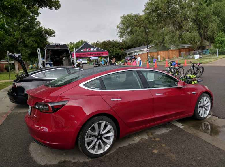 Two Tesla Model 3s---one red and the other one black---were on hand at Open Streets, courtesy of members of Drive Electric Northern Colorado.