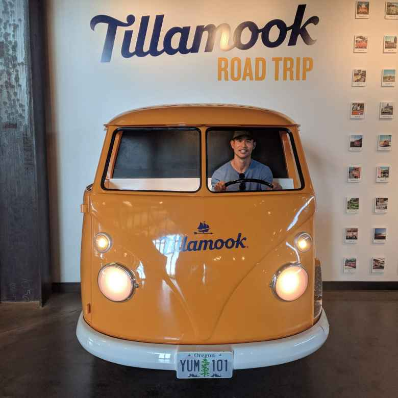 Felix Wong in the Tillamook Road Trip VW Bus.