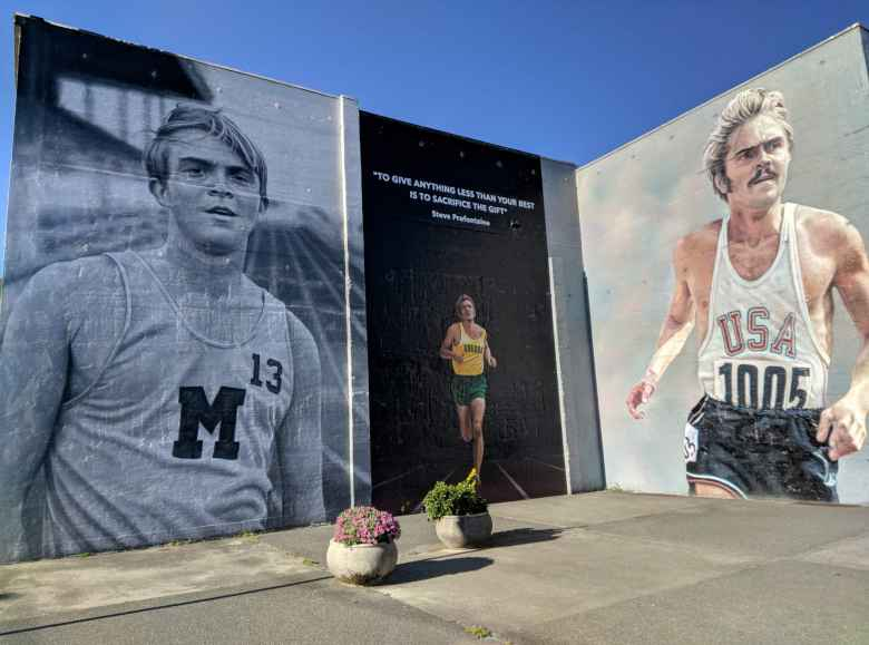 A tribute to Steve Prefontaine in Coos Bay, the town he grew up in Oregon.