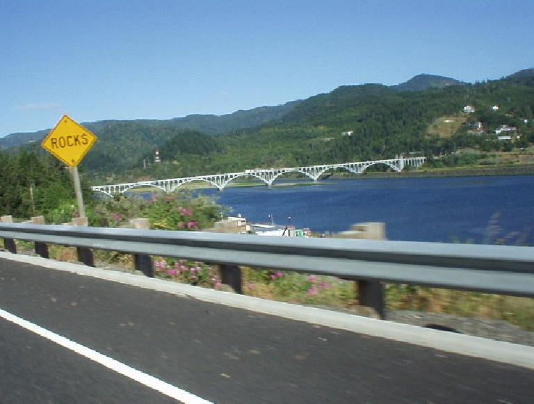 A bridge leads into Gold Beach, OR.