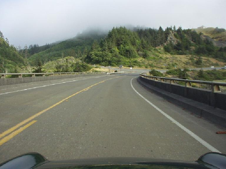 [Near Pistol River, OR] A dense fog begins to roll in and would get progressively denser near Bookings, OR and Crescent City, CA.