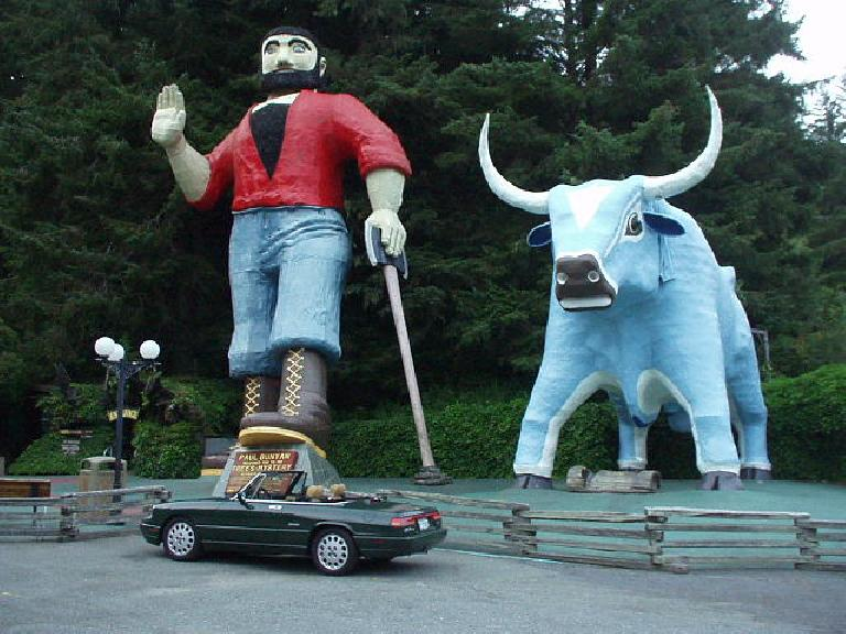 "[South of Crescent City, CA] The Alfa meets Paul Bunyan and Babe the Blue Ox.  ""Please don't step on me,"" Elaina thinks."