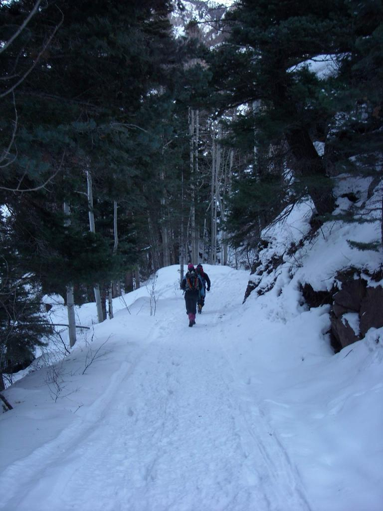 Hiking through Ouray Ice Park.