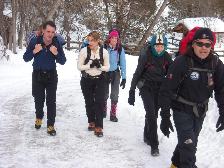 Jeff, Heidi, Michele, Tori and Danny walking through the Ouray Ice Park. (February 1, 2009)