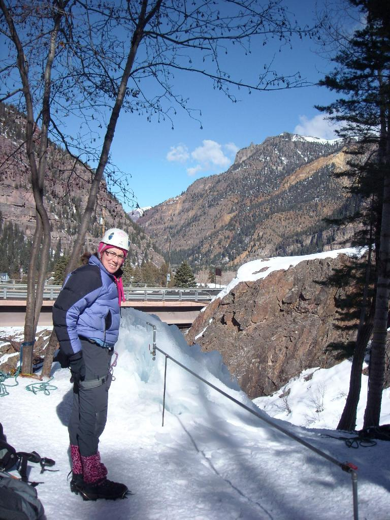 """""""My butt is numb,"""" stated Michele after belaying me while sitting on the snow for too long. (February 1, 2009)"""