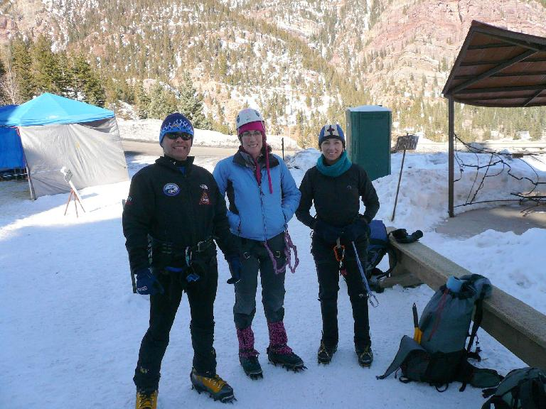 Danny, Michele, and Tori about to commence another fun day of ice climbing. (February 2, 2009)