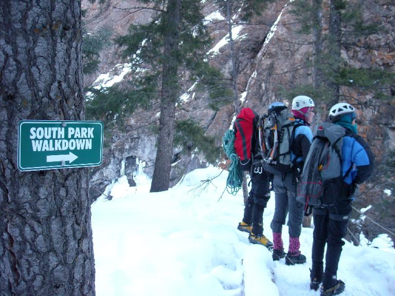 South Park!  It's an area in Ouray Ice Park.  It was too crowded so we never climbed there.