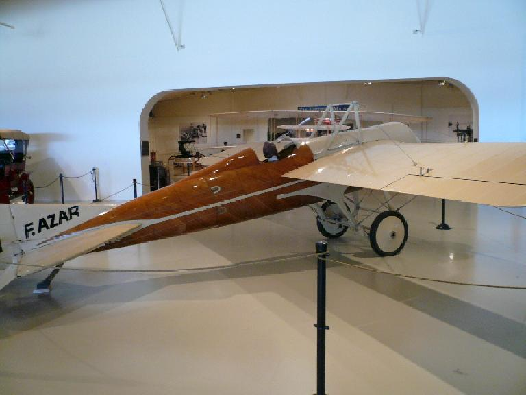 This 1913 Deperdussin (replica) was advanced for its time with its streamlined, monocoque fuselage.  In 1913 it achieved 126.7 mph.