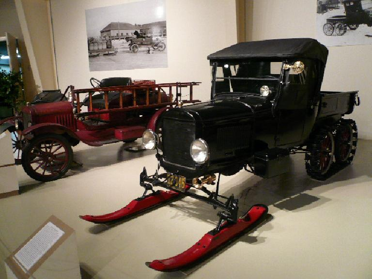 Ford Model Ts were used for everything.  This one was converted into a snowmobile.