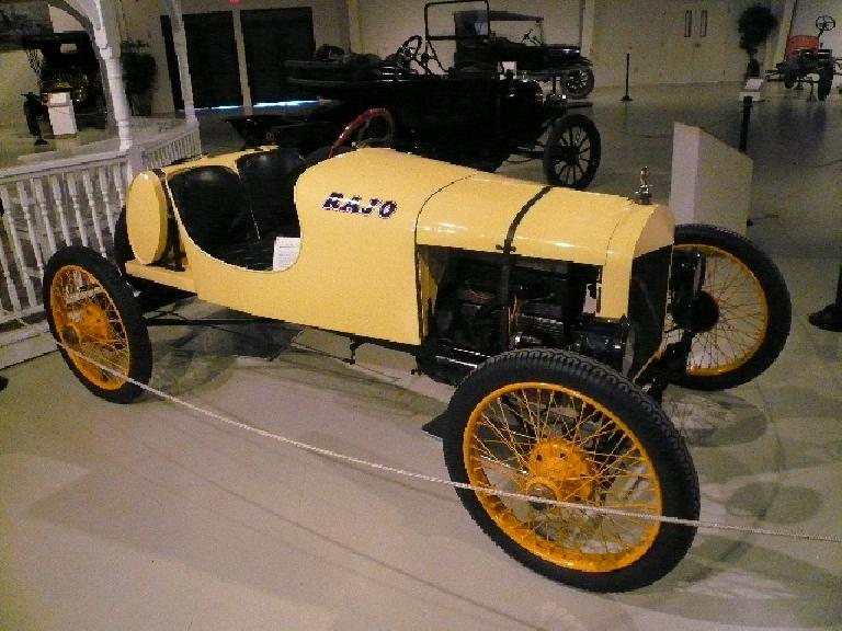 This 1916 Ford Speedster semi-racer-race car was converted from a standard Model T.  The engine conversion doubled the horsepower from the 4 cylinders and made 65 mph possible, although braking was not commmensurate with the speed.