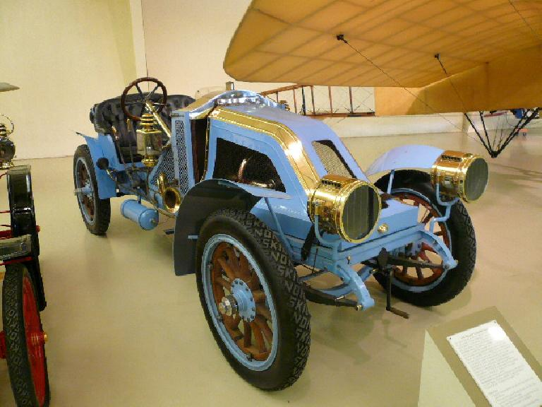 "A 1907 Renault Vanderbilt Racer.  Note the ""NO SKID"" tires."