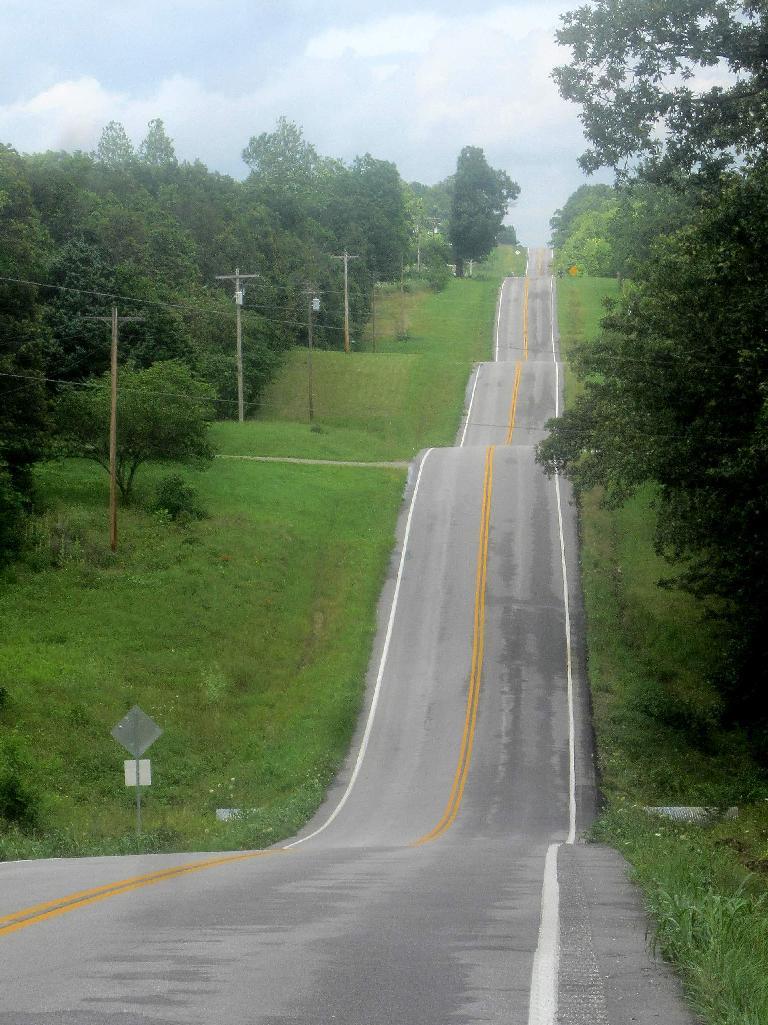 Roller coaster roads in the Ozark Hills.