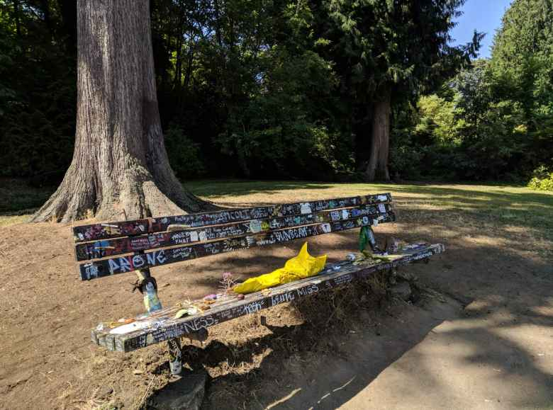 A bench at Viretta Park dedicated to the late Kurt Cobain, situated next to his former house.