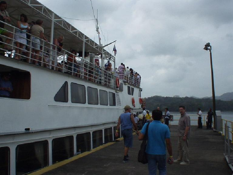 Boarding the Pacific Queen yacht for a tour of the Panama Canal.