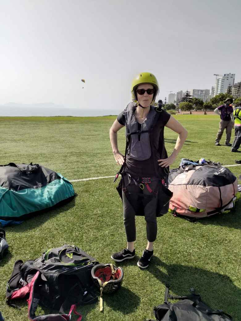 Teresa ready to go paragliding in Lima.