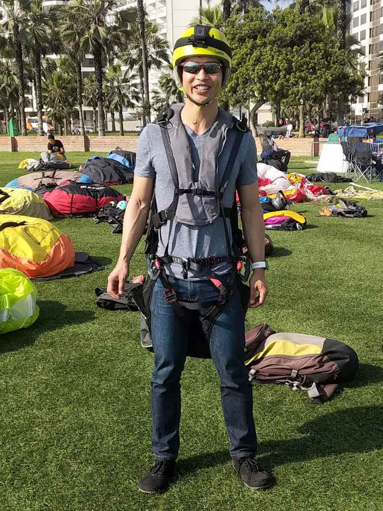 Felix Wong ready to go paragliding in Lima, Peru.