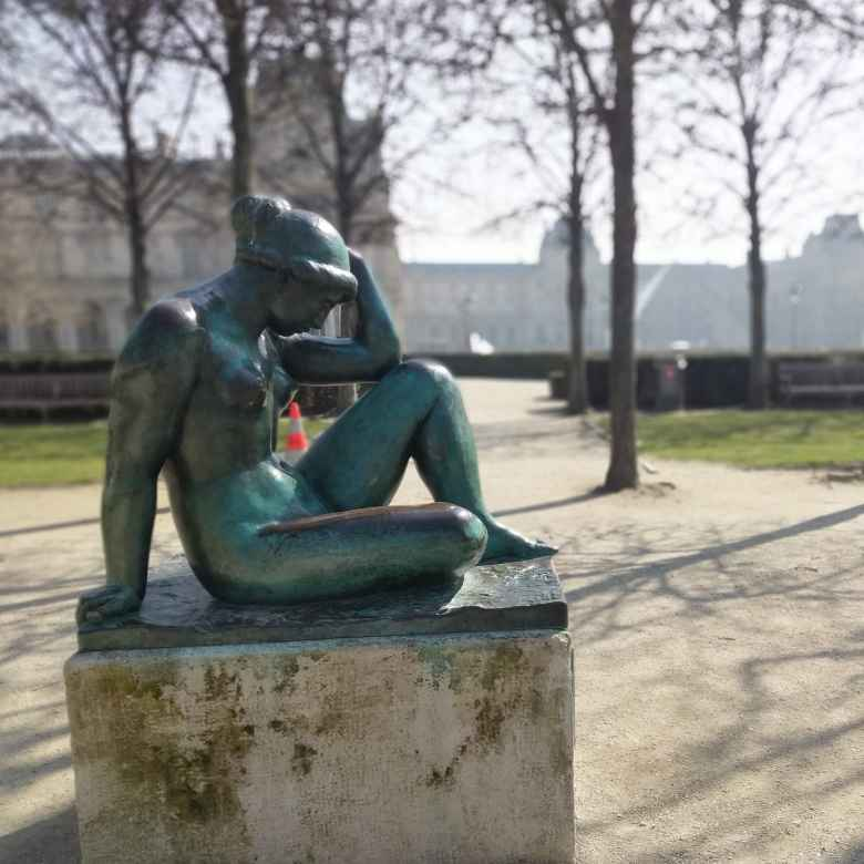 A bronze statue near Jardin de Tuileries in Paris.