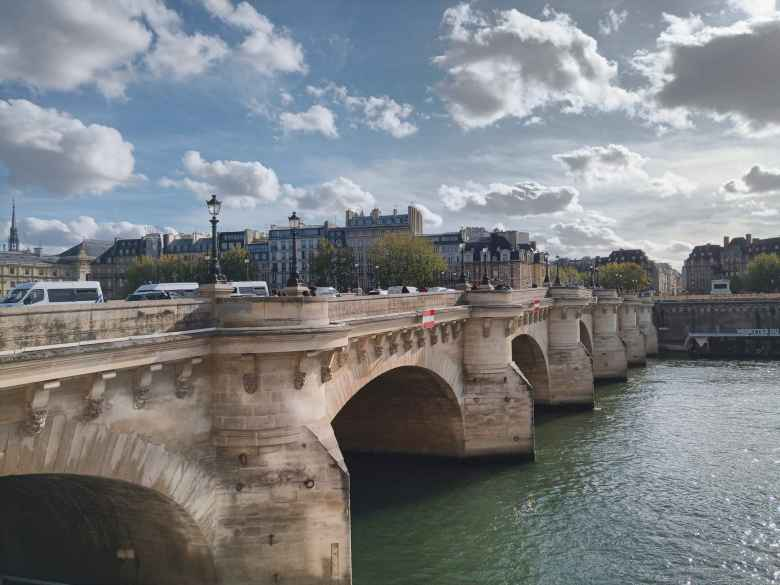 "The Pont Neuf (""New Bridge,"" although after all these centuries it is no longer new)."
