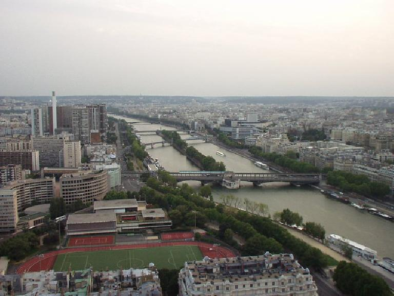 The southwestern view of the Seine from the Eiffel Tower.