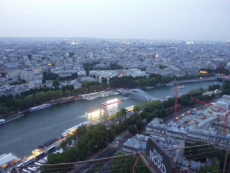 Northeastern view of the Seine and the City of Lights, as Paris is known.