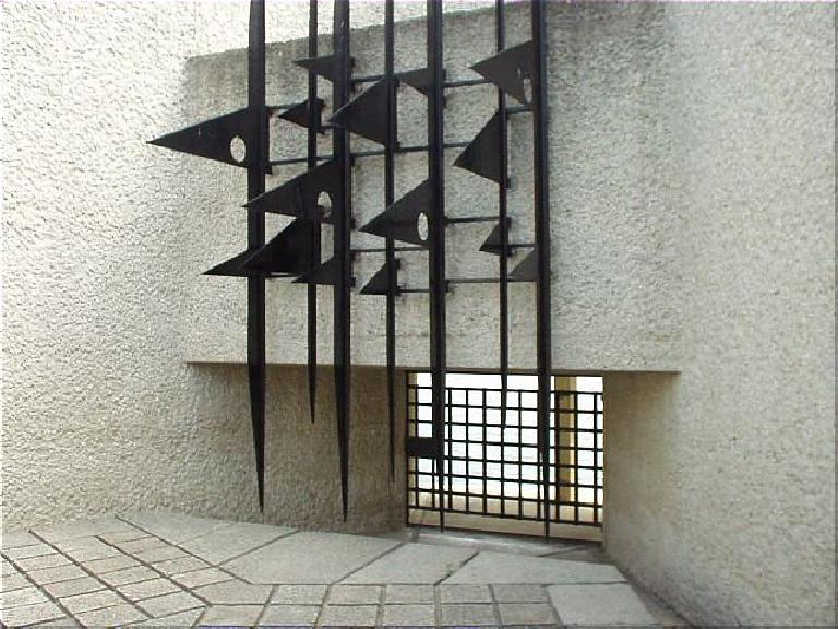 Just east of the Notre Dame Cathedral is the Memorial de la Deportation (Deportation Memorial), in memory of the French Jews killed in Nazi concentration camps.  The sharp bars are symbolic of the camps. (August 17, 2003)