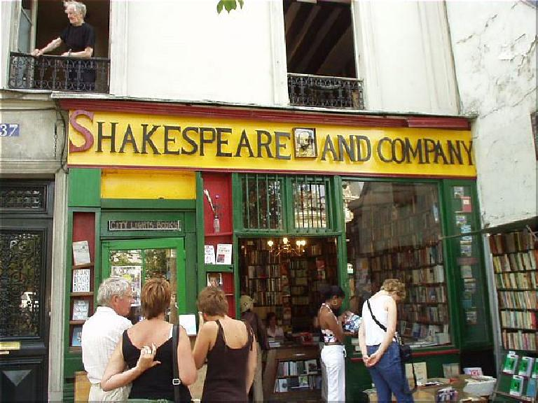 The Shakespeare & Company Bookstore was opened by American Sylvia Beach in the 1920s and is an all-English bookstore.  It attracted the literary elite like Ernest Hemingway. (August 17, 2003)