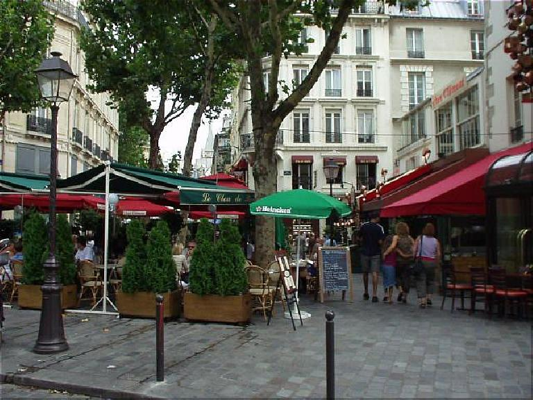 I believe this is the Place St. Andres de Arts, where there many cafes that literary Parisiens used to (and still) patronize. (August 17, 2003)
