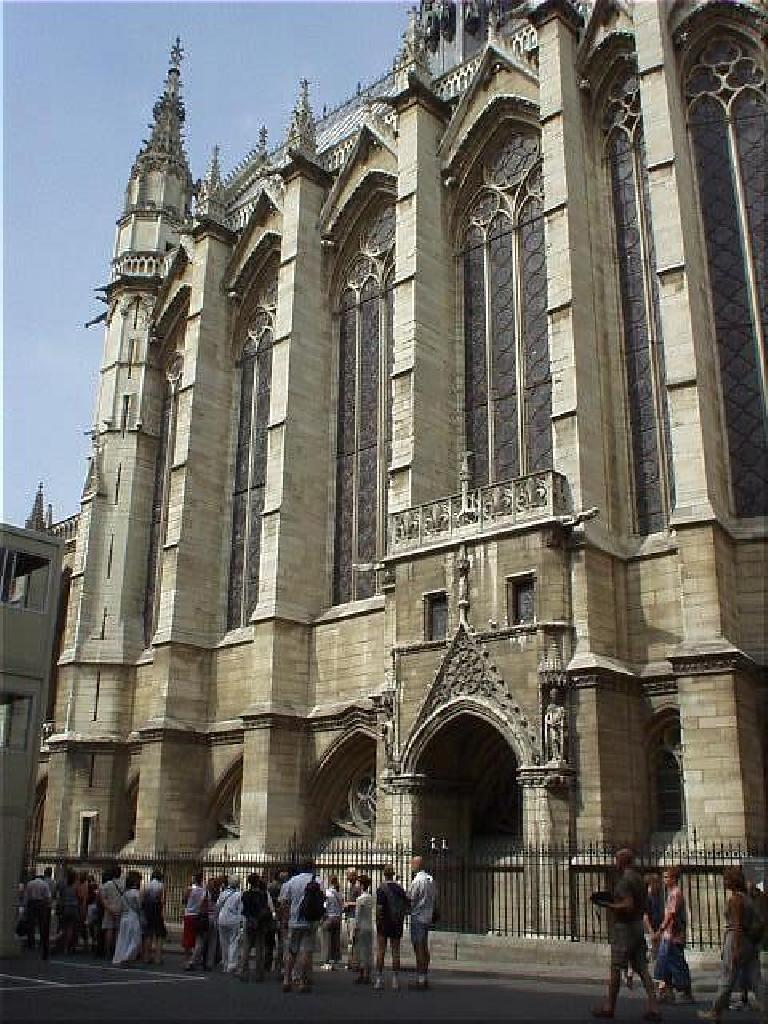 This is the St. Chapelle.  Exteriorly, it is not nearly as attractive as the Notre Dame, but I hear the interior is exquisite.  The queue (which you can see in the picture) dissuaded me from going in, though. (August 17, 2003)