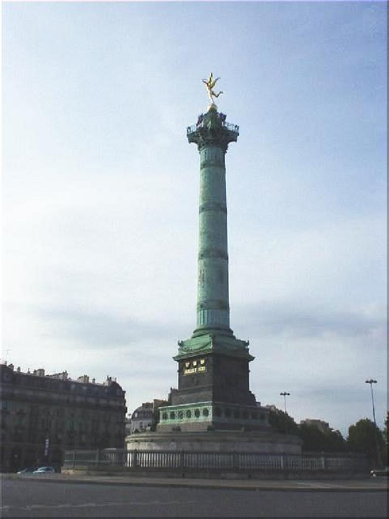 At the Bastille, the most noteworthy piece of architecture is L'Colomne de Julliet at the rond point just outside of the Bastille. (August 17, 2003)
