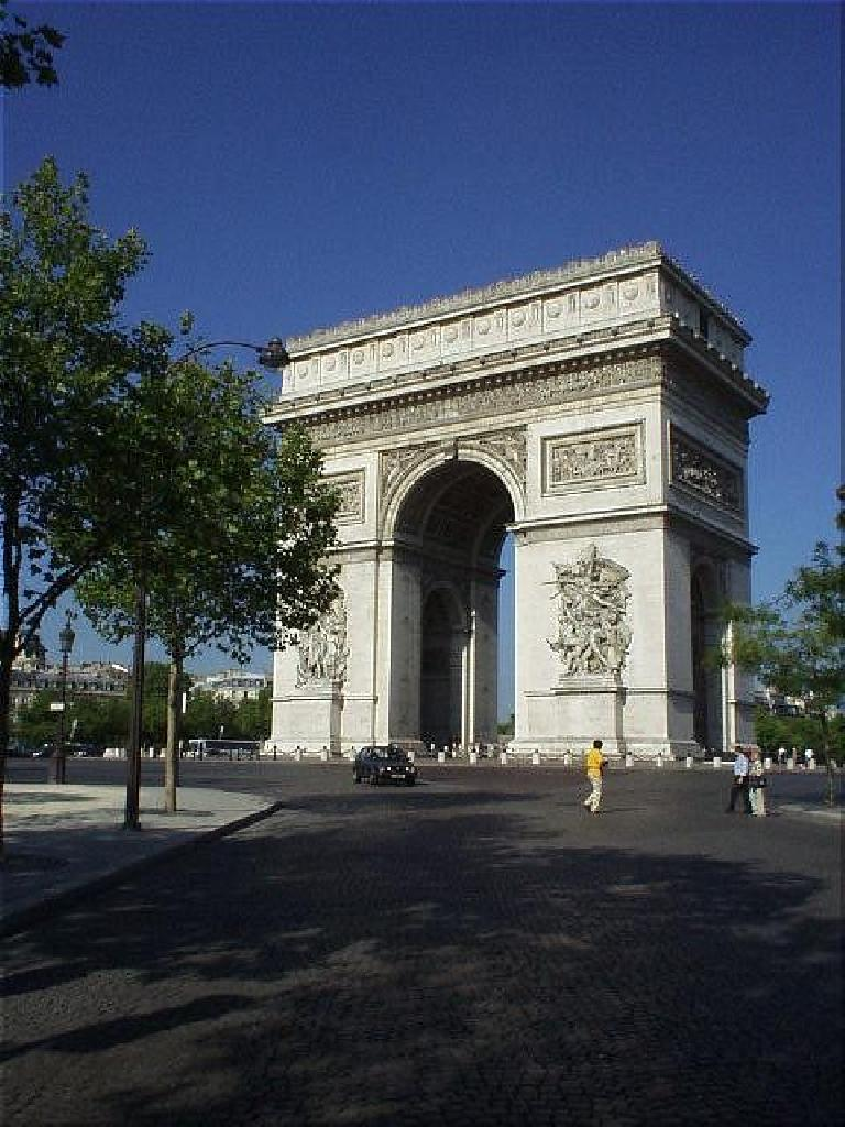 The Arc de Triumph, where I stayed in a nice hotel just a couple of blocks away during my last days in Paris.. (August 17, 2003)
