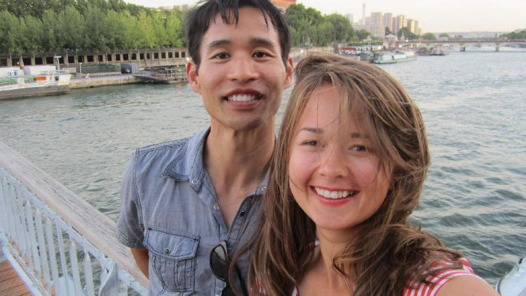 Felix Wong and Katia in front of the Seine River. (August 5, 2013)