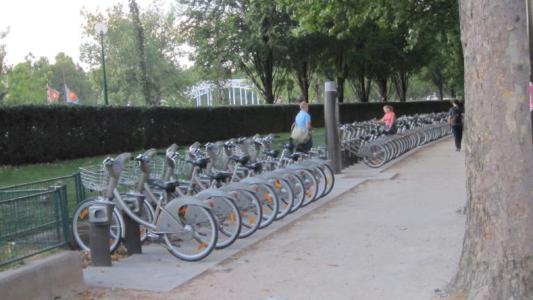 So many Velib city bikes. (August 5, 2013)