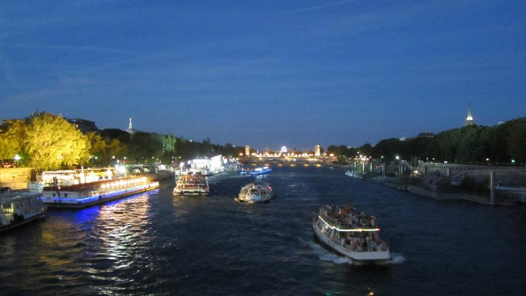Boats on the Seine river. (August 5, 2013)