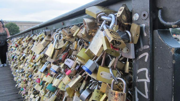 Locks on one of the bridges over the Seine. (August 6, 2013)