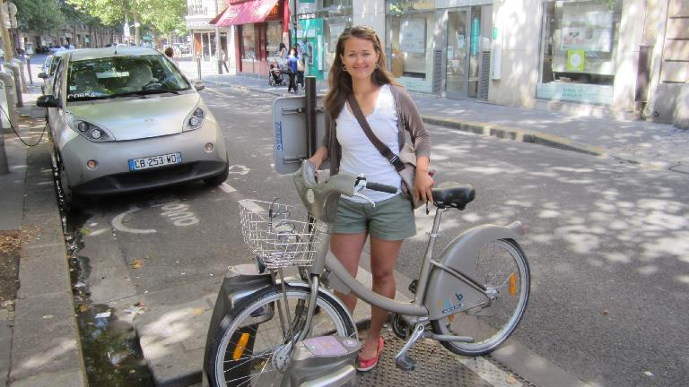 Katia and a Velib' city bike. (August 8, 2013)
