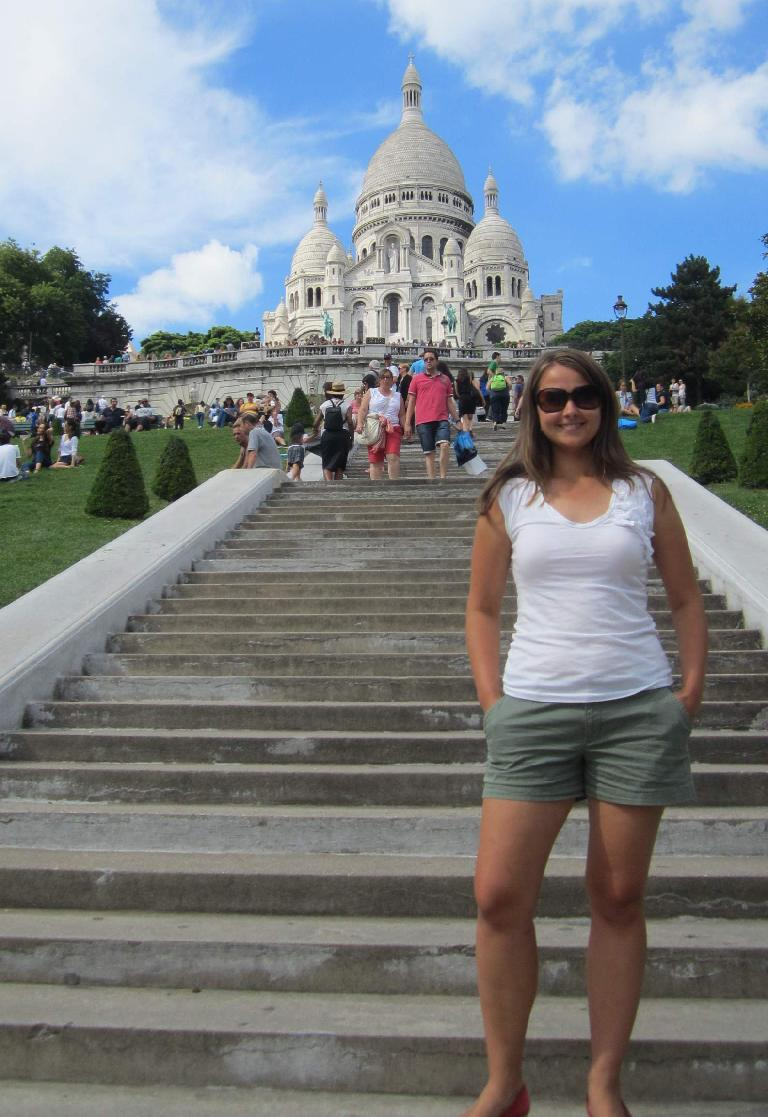 Katia in front of the Sacre Coeur basilica. (August 8, 2013)