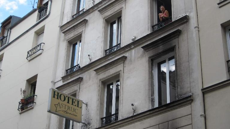 Katia in the window of Hotel Astruc, our home base in Paris. (August 8, 2013)
