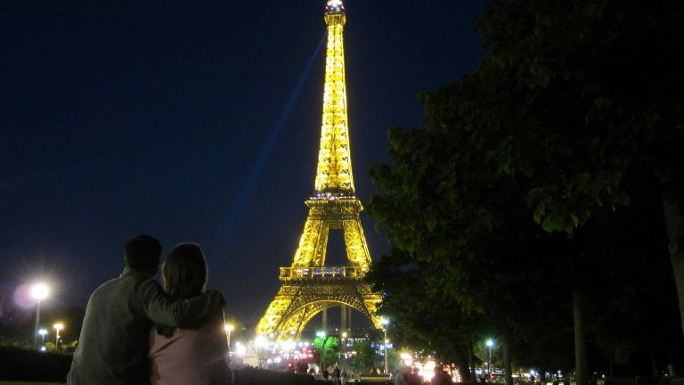 Enjoying the view of the Eiffel Tower on Katia's birthday. (August 10, 2013)