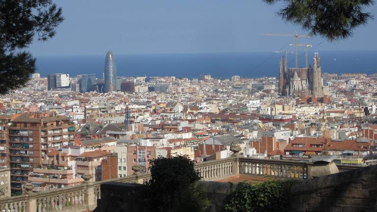 Nice view of Barcelona, including phallic-looking Torre Agbar and prominent Sagrada Familia church.