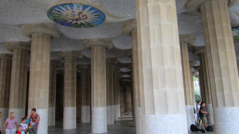 Columns and ceiling art at Parc G