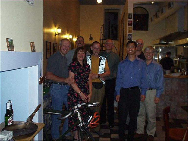 [11 days before the race] All of the PBP entrants from the East Bay congregated at the Toutatis creperie in Oakland, CA, for dinner.  This is a snapshot of just the riders: Mike, Mark, Susan, Charlie, Dan, Felix... and 2 others I forget their names (sorry!)  I'd run into Mark and Mike in France either before or during the race.