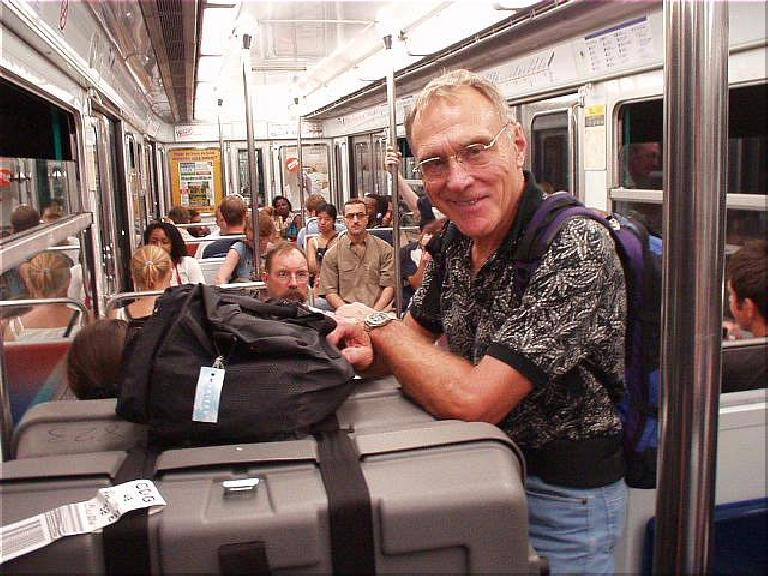 [4 days before the race] At the Charles de Gaulle Airport, I met Lew Meyer from Berwyn, PA, who was doing PBP too, so we traveled into Paris together.  Here's Lew on the Metro. (August 14, 2003)