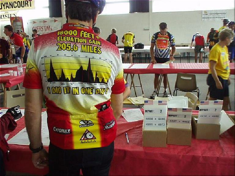 "[1 day before the race] At the registration table I lined behind a guy who had done the Devil Mountain Double.  ""Hey, I've done that ride,"" I enthusiastically said. (August 17, 2003)"