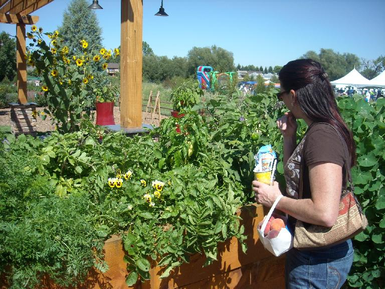 Tori pondering the different peppers.