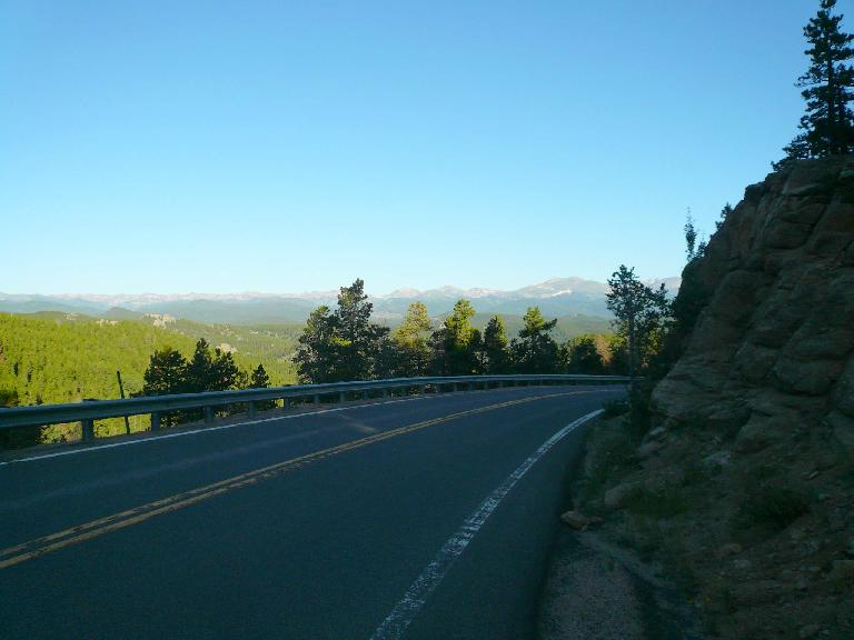 [Mile ~21, 7:39am] Splendid view of the Rockies heading up Coal Creek Canyon.